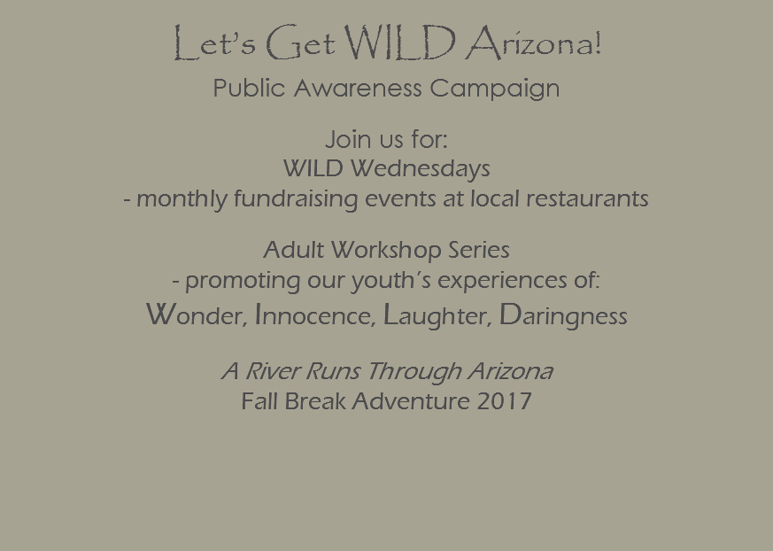 Let's Get WILD Arizona! Public Awareness Campaign Join us for: WILD Wednesdays - monthly fundraising events at local restaurants Adult Workshop Series - promoting our youth's experiences of: Wonder, Innocence, Laughter, Daringness A River Runs Through Arizona Fall Break Adventure 2017