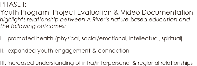 PHASE I: Youth Program, Project Evaluation & Video Documentation highlights relationship between A River's nature-based education and the following outcomes: I . promoted health (physical, social/emotional, intellectual, spiritual) II. expanded youth engagement & connection III. increased understanding of intra/interpersonal & regional relationships